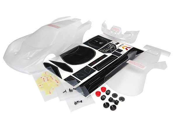 Body, Ford GT (clear, requires painting)/ decal sheet (incl, TRX8311