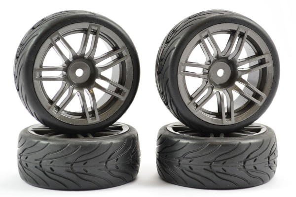 1:10 STREET/TREAD TYRE 14SP GUN METAL WHEEL