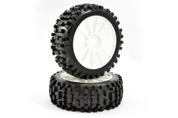 1:8 PREMOUNTED BUGGY TYRES 'ROCK-BLOCK/12 SPOKE