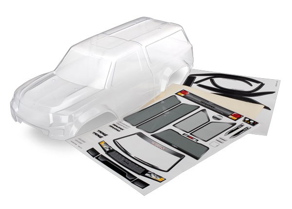 Body with camper, TRX-4 Sport (clear, trimmed, requires painting)/ window masks/