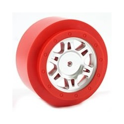 FASTRAX SC CHROME/RED RING ONEPIECE WHEELS(2)-SC10 2WD Fr
