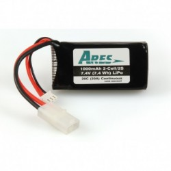 1000mAh 2-Cell/2S 7.4V 20C LiPo Battery, Tamiya Connector: G