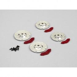 """Bremsscheiben mit Sattel """"Silber-Rot"""", CNC Aluminum (2 + 2 S"""