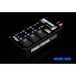 Verteilerbox Pro mit Buchsen, Schalter und 2xUSB, Blau