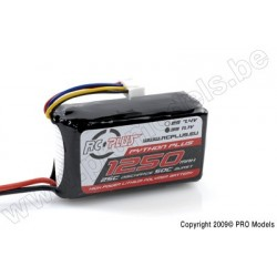 RC Plus - Python Plus 25-30C 1250 Mah 3S1P 11,1V LiPo Batterypack, Deans Conn.