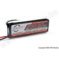 RC Plus - Python Plus 25-30C 2500 Mah 3S1P 11,1V LiPo Batterypack, Deans Conn.