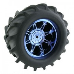 T-MAXX/SAV/MGT 'MONSTER SPIDER' WIDE BLUE CHROME WHEELS